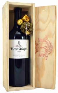 Červené víno Torre Muga  en caja de madera